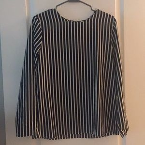Open back black and white blouse